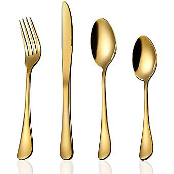 24 Piece Gold Cutlery Set Flatware Sets, HaWare Stainless Steel Silverware with Knife Spoon Fork