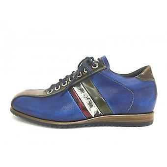 Men's Shoes Harris Sneaker Blue Linen Saffiano Tricolor Handmade U16ha51