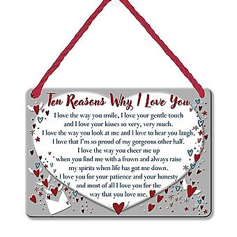 WPL Heart Warmers Ten Reasons Why I Love You Sentimental Tin Plaque
