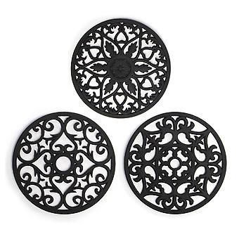Silicone Trivets - Set of 3 | Pukkr Black