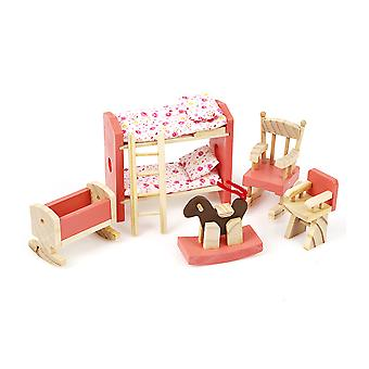 Wooden House Furniture Miniature Kids Room Bedroom Set Kids Play House Toy