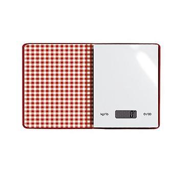 küchenwaage 15,5 x 18,9 cm Glas rot/weiß