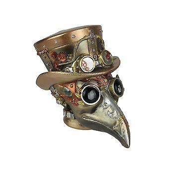 Steampunk Plague Doctor Hand Painted Copper and Bronze Finish Statue 6.75 Inches High
