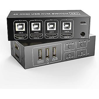 HDMI KVM Switch 4 Ports Mit 4 USB Kabeln, 4 In 1 Out USB Umschalter Aktie Monitor Maus Tastatur HDMI