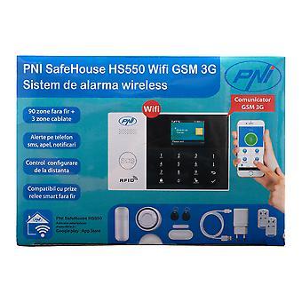 PNI SafeHouse HS550 Wifi GSM 3G sistema de alarma inalámbrica con monitoreo y alerta de Internet, SMS, llamada de voz, máximo 90 zonas inalámbricas y 3 zonas cableadas