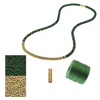 Refill - Lang Beaded Kumihimo halskæde - Grøn og Guld - Eksklusiv Beadaholique smykker Kit