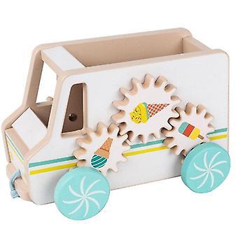 Drewniany wózek z lodami udawanie drag car zabawki kolorowe dzieci puzzle nauka zabawki| Bloki