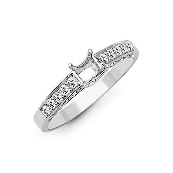 Jewelco London Solid 18ct White Gold Pave Set Round G SI1 0.5ct Diamond Semi Set Mount Engagement Ring 6.5mm
