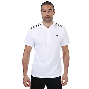 menns lacoste panelt ultralett polo skjorte i hvitt