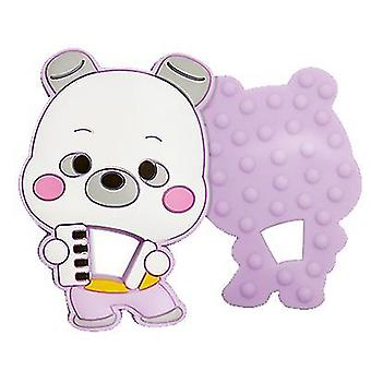 Purple bear shape silicone teether for toddlers, baby molar stick toy az624