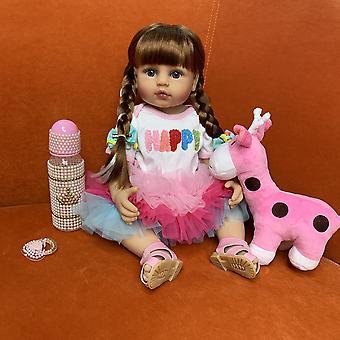 55Cm original Ganzkörper Silikon Soft Real Touch wasserdichtes Bad Spielzeug lebensecht wiedergeborenes Baby Kleinkind Mädchen Prinzessin Haar Anna Stil
