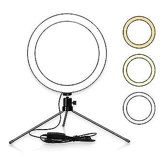 Mesa de 8 pulgadas LED Anillo Luz 3200-5600K 3 Colores 10 Niveles Brillo Ajustable
