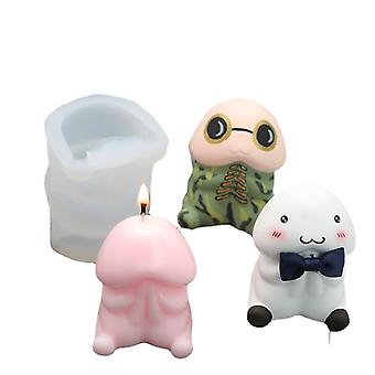 3D cute monster  animal silicone mold for homemade soap stick candle cake decoration
