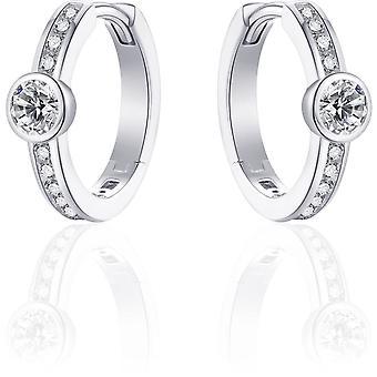 Gisser Jewels Örhängen - Örhängen set med Zirconia - 16mmØ - 5mm Bred - Gerhodineerd Zilver 925