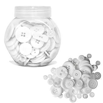 LAST FEW - 120g Mixed Size and Shade Button Tubs for Crafts - Whites