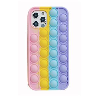 EOENKK Xiaomi Redmi Note 10S Pop It Case - Silicone Bubble Toy Case Anti Stress Cover Rainbow