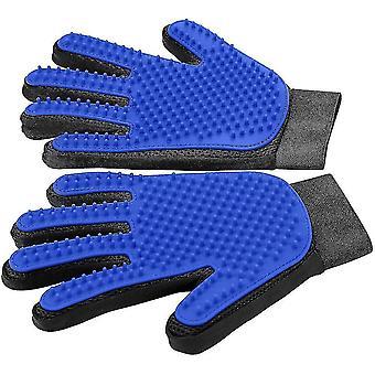 Pet Hair Remover Rukavice, domáce zviera Starostlivosť o rukavice, jemný deshedding kefa rukavice 1 pár (modrá)