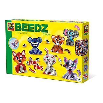 Beedz Children's Iron-on Beads FunPins Animals Mosaic Kit, 2100 Iron-on Beads