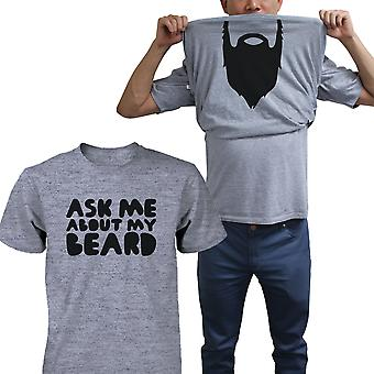 Pytaj mnie o moją koszulę broda śmieszne Flip Up koszulki Halloween Graphic Tee Koszulka śmieszne koszulki