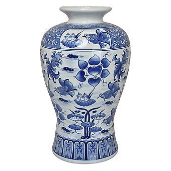 Plutus Brands B&w Vase in Blue Porcelain - PBTH93411