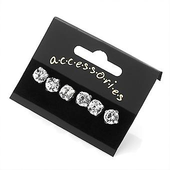 Three Pairs 8mm Silver Tone Crystal Stud Earring Set Ladies Costume Jewellery