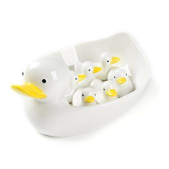 Swotgdoby White Cartoon Ceramic Chopstick Holders, Swarms Of Duck, Cutlery Rests