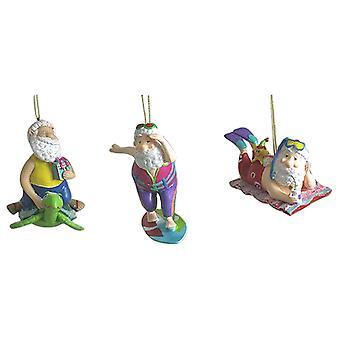 Santa On Turtle Surfer St Nick Scuba Elf Christmas Holiday Ornaments Set of 3