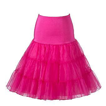 שנות ה-50 של הבציר משובח חצאית פטישי נטו 26 ', ורוד, גדול/XL (16-22)
