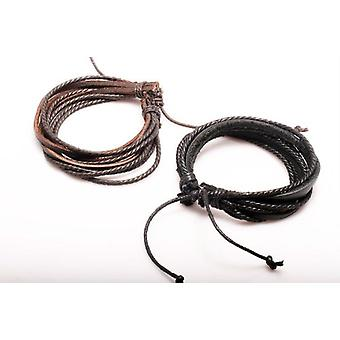 Boolavard® TM Jewelry 2pcs Brown & Black Wrap Charm Genuine Leather Bracelet with Braided rope Unisex for Men & Women