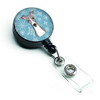 Carolines skarby BB1670BR śnieżynka charcik włoski chowany odznaka bębnowa