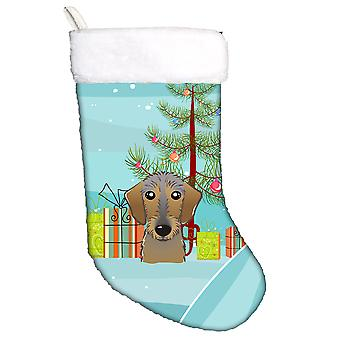 Christmas Tree and Wirehaired Dachshund Christmas Stocking