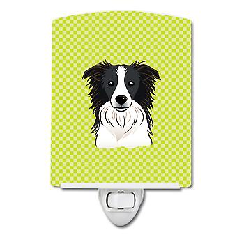 Checkerboard Lime Green Border Collie Ceramic Night Light