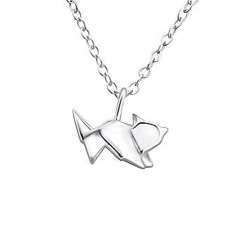 Origami Fox - 925 Sterling Silver Plain Necklaces - W26036X