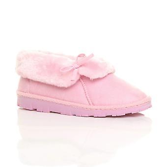 Ajvani womens vlakke winter faux schapenvacht bont wasbaar luxe slip enkel laarsjes pantoffels