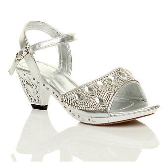 Ajvani meisjes lage hak riem bruidsmeisje bruiloft partij diamante avond schoenen sandalen