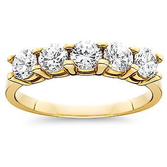 1ct fünf Stein Diamant-Ring 14K Gelbgold