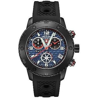 Swiss military mens watch rally GMT Nero chronograph 2752