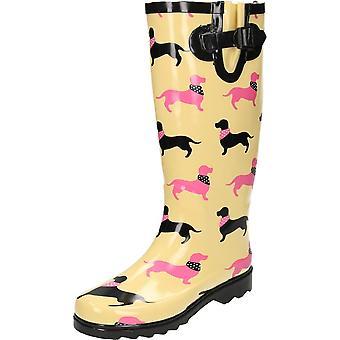 JWF Dachshund Dog Print Wellington Boots
