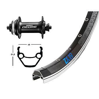 """אופניים-חלקים 28 """"גלגל קדמי Exal ZX 19 + שיאמו Deore M6000 מרכז העירלוק (QR)"""