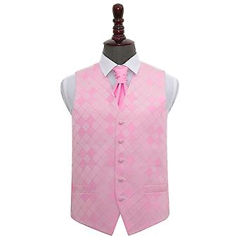 Diamante rosa luce matrimonio gilet & Cravat Set