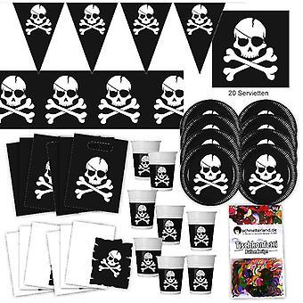 Festa de pirata bandeira preta conjunto XL 57-teilig para 6 hóspedes caveira bandeira aniversário decoração festa pacote