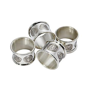 Charles Rennie Mackintosh Rose Pewter Napkin Ring Set
