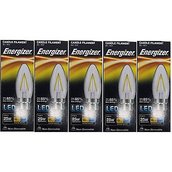 5 X Energizer Filament LED Candle Bulb 2.4W = 25W 250Lumen Warm White BC B22 [Energy Class A+]