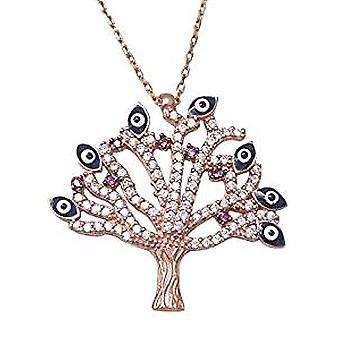 Tree necklace 18 ct rose gold plated silver