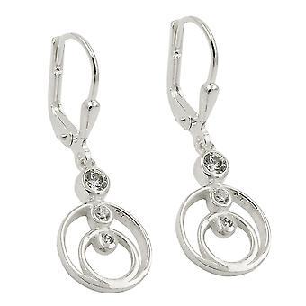 Brisur 30x10mm earring per 2 rings 3 zirconias Silver 925