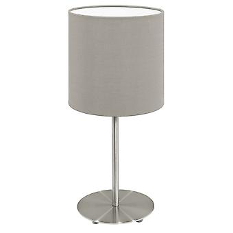 Eglo Pasteri 275mm Chrome Bedside Lamp With Taupe Shade