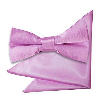 Flieder-Plain Satin Bow-Tie & Einstecktuch für jungen eingestellt