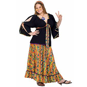 Groovy Mama 1970s Hippie Hippy Flower Power Retro Peace Women Costume Plus
