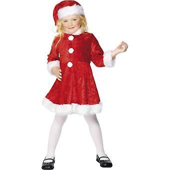 ミニ ミス サンタ ニコラス キッズ コスチューム、白い裾赤