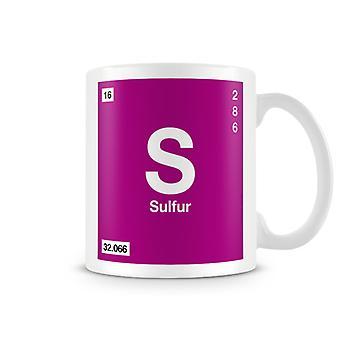 Wetenschappelijke bedrukte mok Featuring Element symbool 016 S - Sulfer